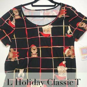 Lularoe L Classic T Shirt Santa Bear Christmas NWT
